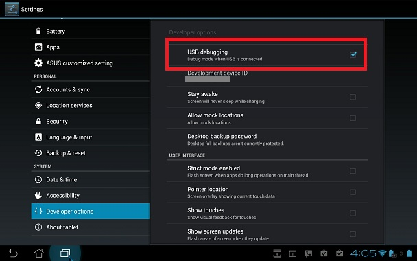 Brancher le mobile Android en mode de stockage de massse