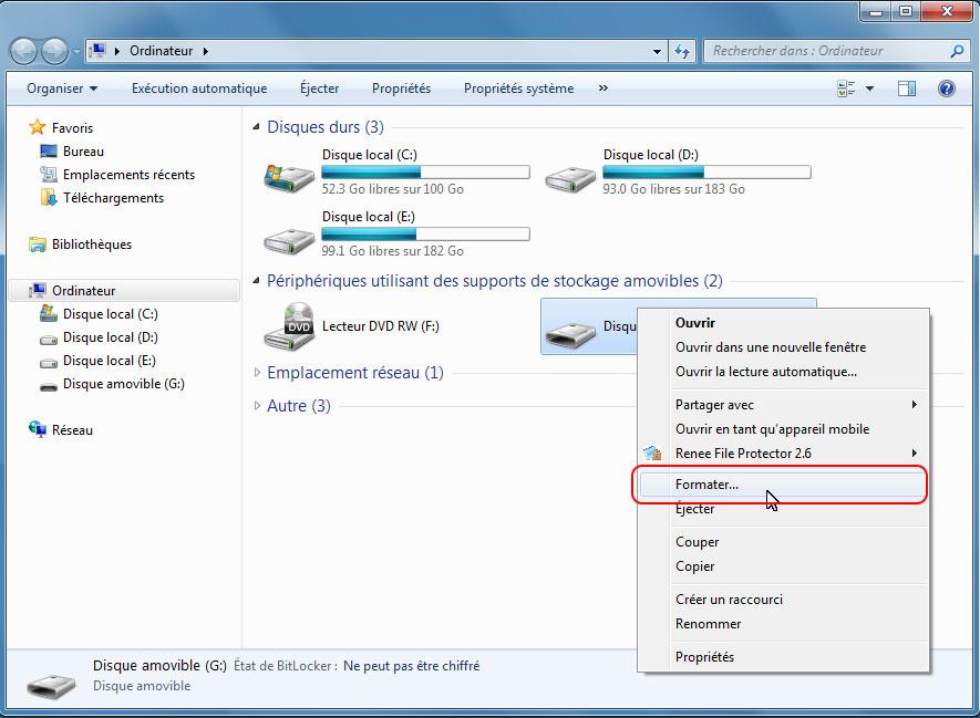 Formater le disque sous Windows