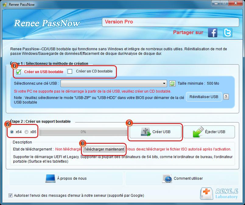 Créer un CD ou une clé USB bootable avec Renee PassNow