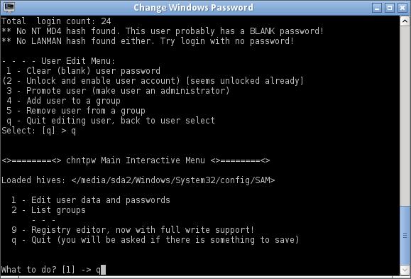 Réinitialiser le mot de passe Windows avec Chntpw-8