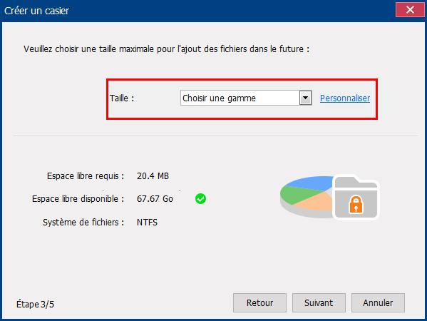 sélectionner la taille pour le disque virtuel