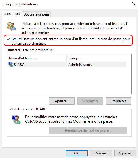 Supprimer le mot de passe Windows 10 avec netplwiz