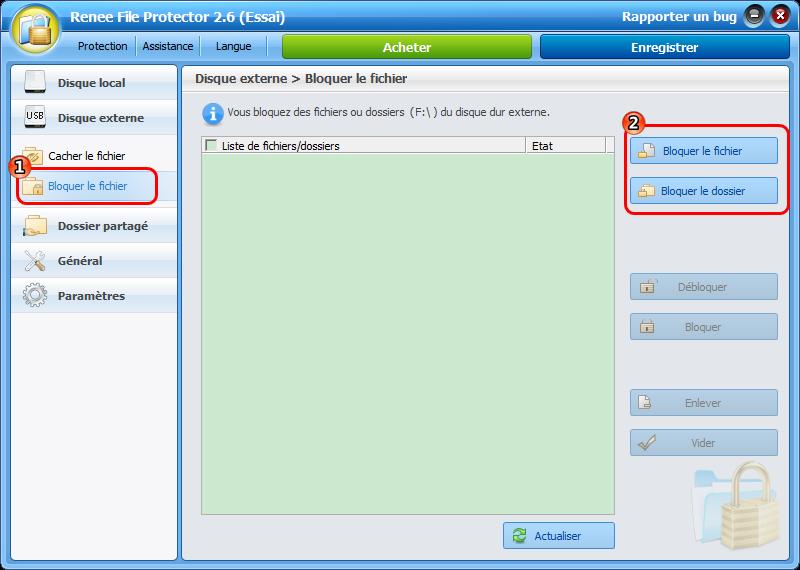 Bloquer un fichier d'une clé USB avec Renee File Protector