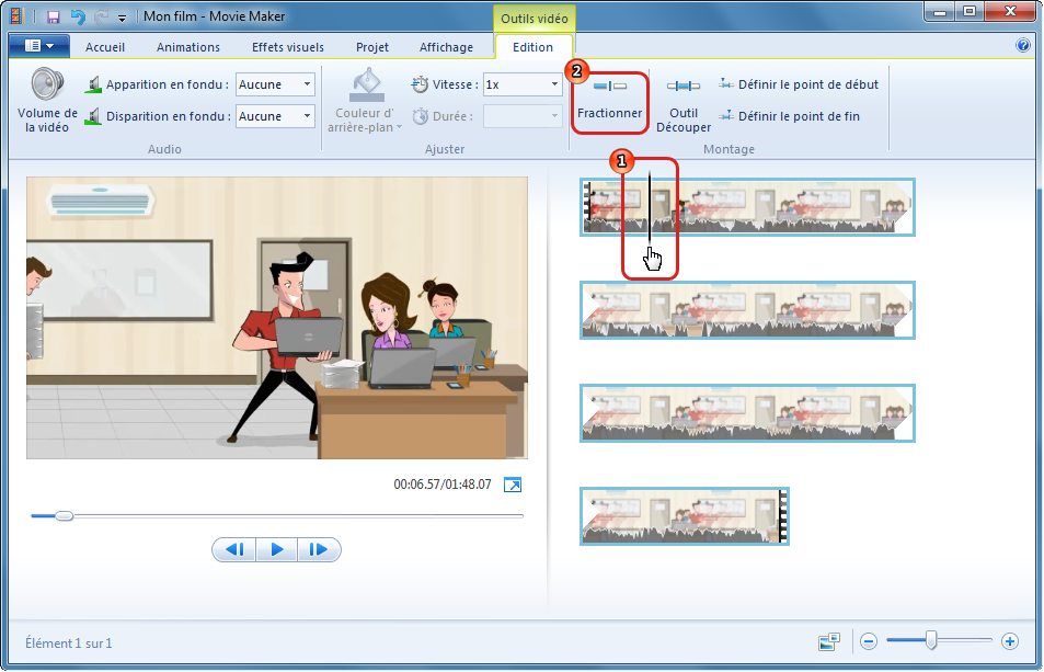 Fractionner la vidéo dans Windows Movie Maker