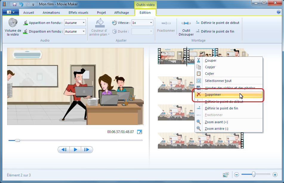 Supprimer les parties inutiles dans Windows Movie Maker