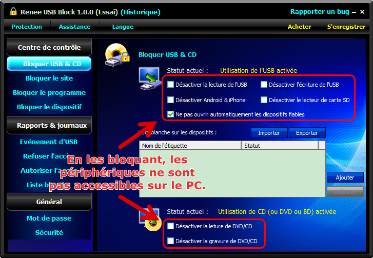 bloquer USB et CD-renee usb block