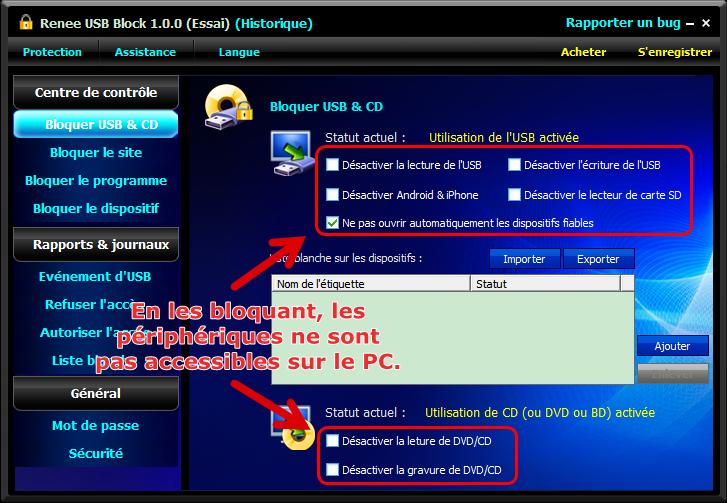Bloquer USB et CDd'un PC avec Renee File Protector