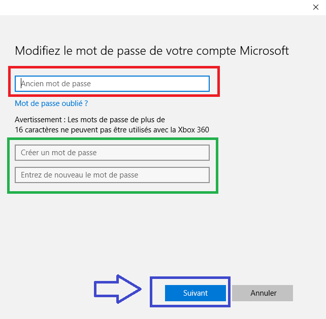changer le mot de passe Windows 10