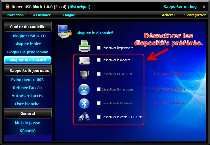 Désactiver le dispositif avec Renee USB Block