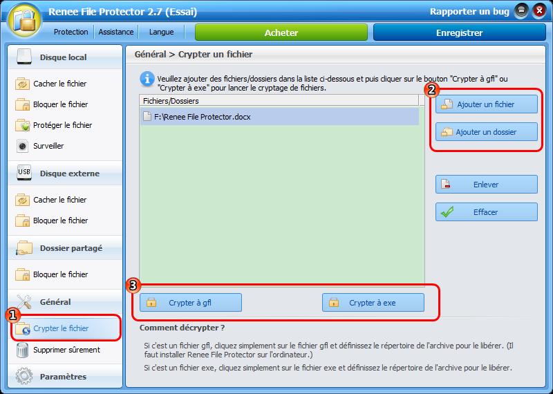 Crypter une clé USB avec Renee File Protector