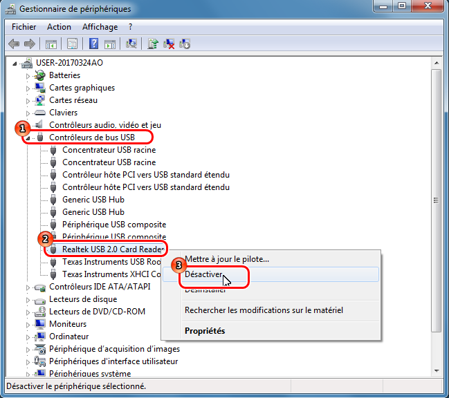 Désactiver le port USB par le gestionnaire de périphériques-Renee USB Block