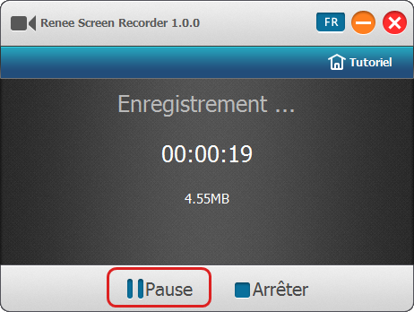 Suspendre la capture d'écran- Renee Screen Recorder