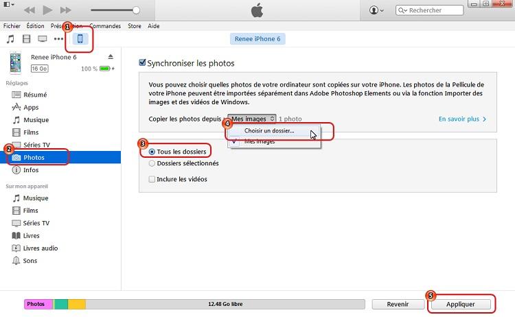 Transférer les photos du PC à iPhone avec iTunes -  Renee iPhone Recovery