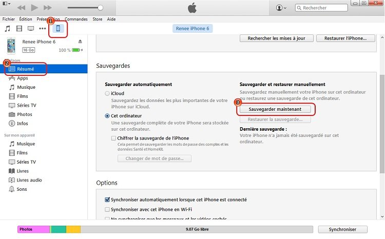 transferer les photos iphone avec itunes - Renee iPhone Recovery