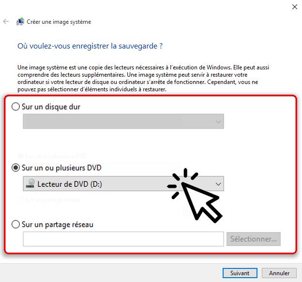 Créer une image système Windows 10