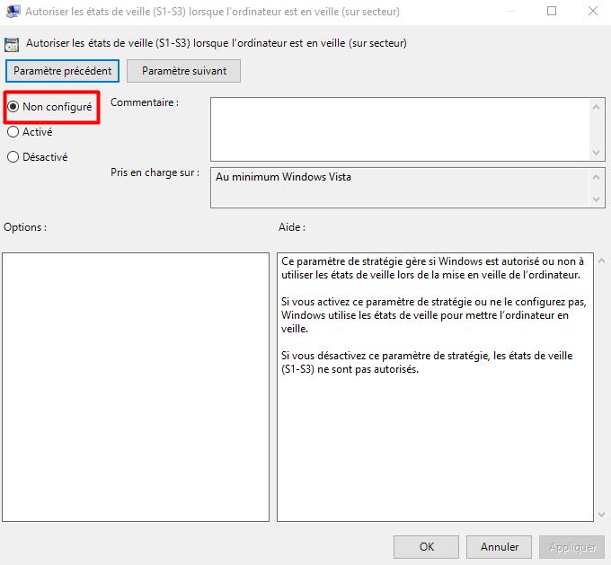 activer la fonction de veille windows 10