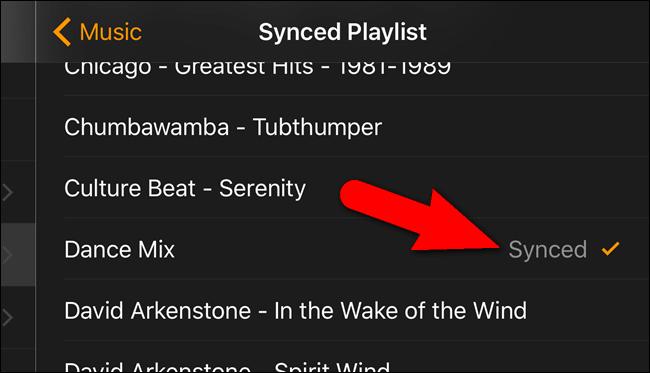 Le playlist est marqué synced