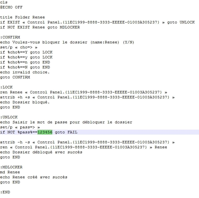 Redéfinir le mot de passe du dossier dans le script