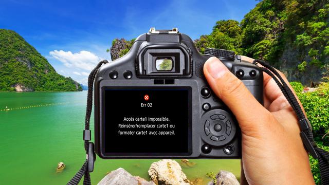 carte SD illisible sur l'appareil photo