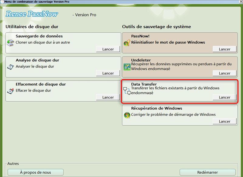 Transférer les fichiers lors du crash de Windows