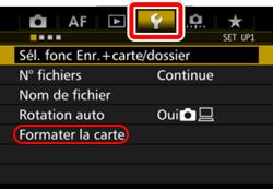 Sélectionner la fonction Formater sur l'appareil photo Canon
