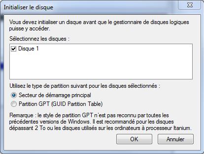 Lancer l'initialisation du disque dur