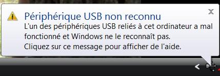 périphérique USB non reconnu