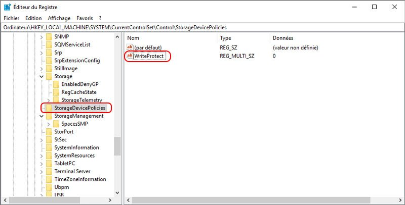 enlever la protection en écriture sur la carte SD dans l'éditeur du registre