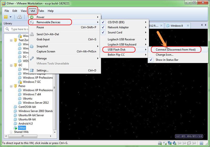 Déconnecter le périphérique USB dans VMware.