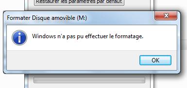 Windows ne peut pas formater le disque