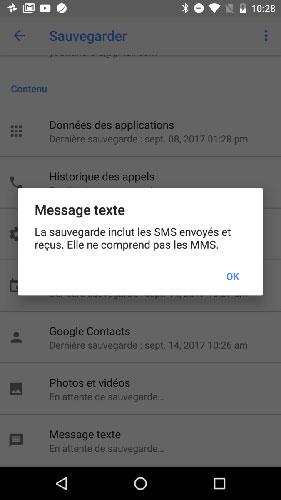 Sauvegarder les SMS sur Google Drive