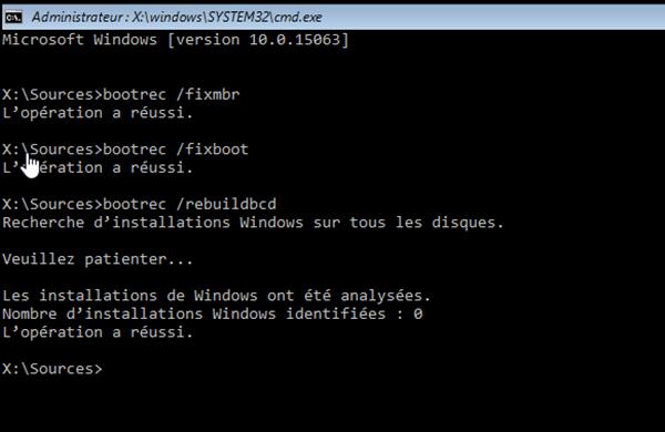 invite de commande  bootrec-fixboot