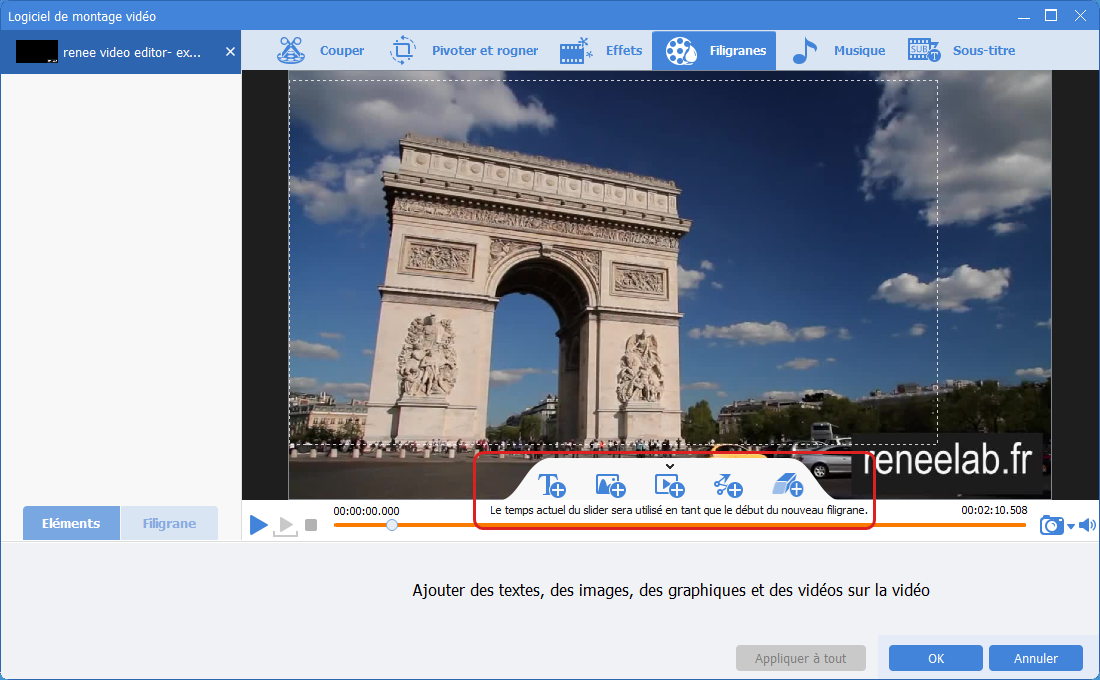 Ajouter un filigrane sur la vidéo avec Renee Video Editor Pro