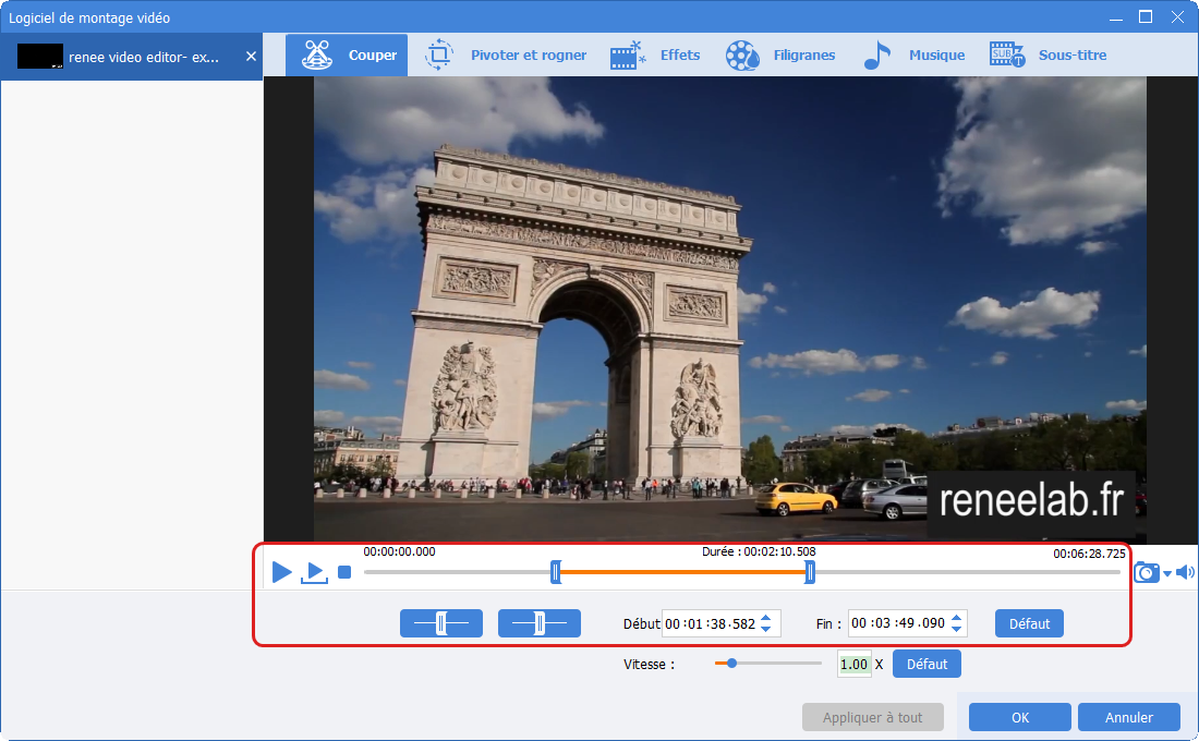 couper une vidéo avec Renee Video Editor Pro