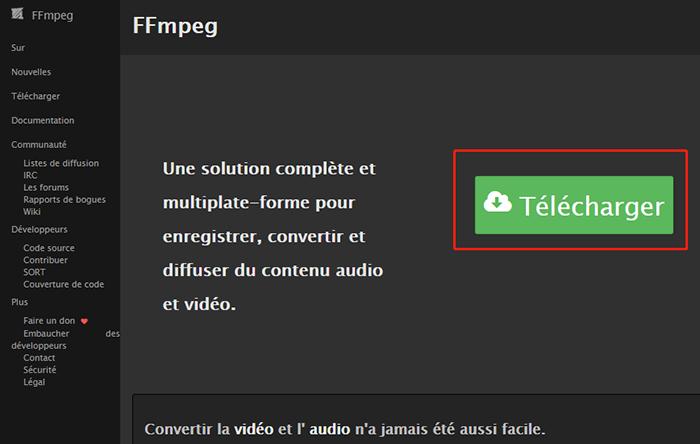 télécharger ffmpeg