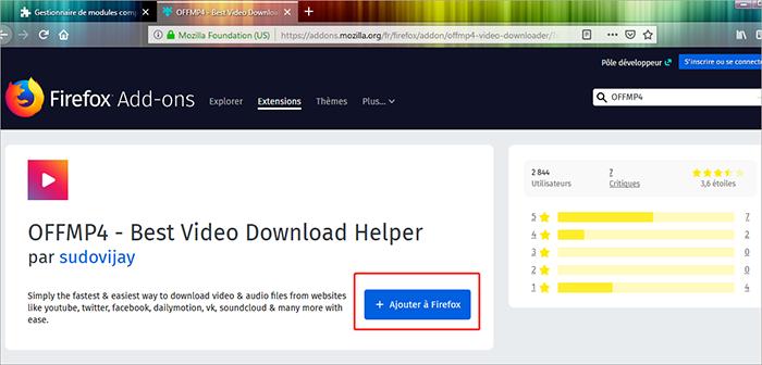 ajouter OFFMP4 à Firefox
