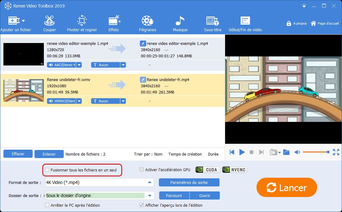 fusionner les fichiers vidéos