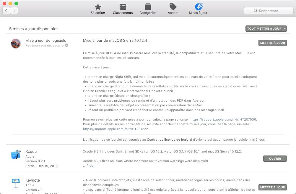 mises à jour sur MacOS