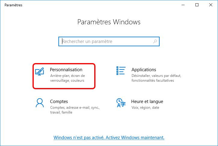 personnalisation dans les paramètres Windows