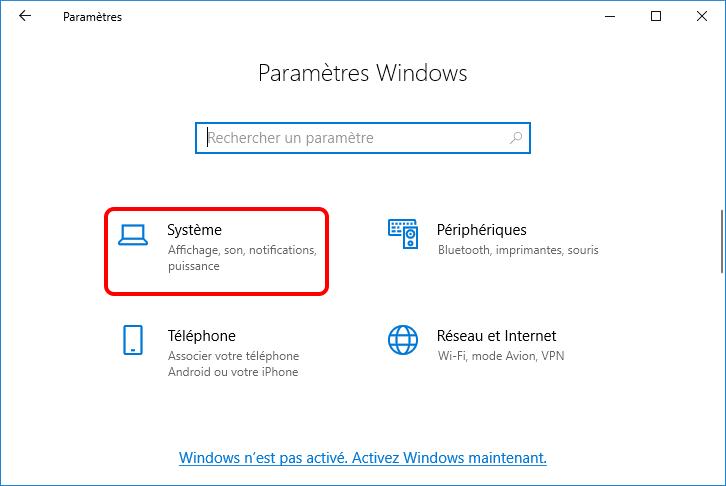 système dans les paramètres Windows
