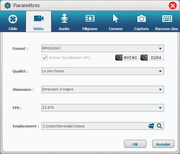 paramètres avancés pour l'enregistrement de l'écran