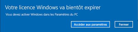 Windows va expirer