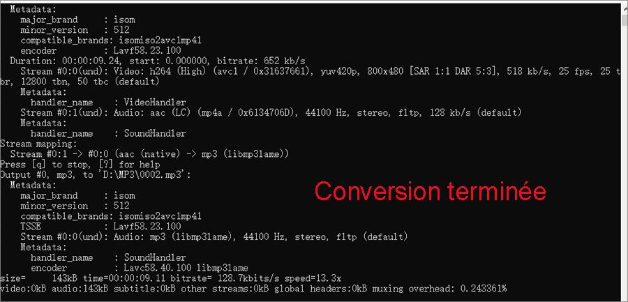 conversion mp4 en mp3 terminée