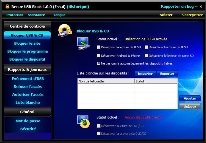 bloquer le port USB avec Renee USB Block