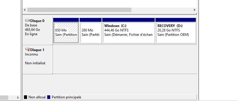 disque dur externe sous l'état non initialisé