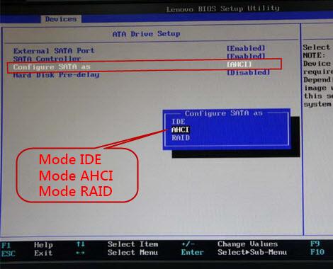 définir le mode AHCI pour régler que le disque dur n'apparaît pas dans la Gestion des disques