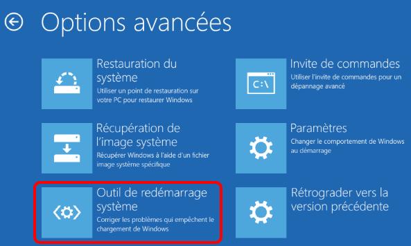 outil de redémarrage système pour réparer les problèmes de Windows