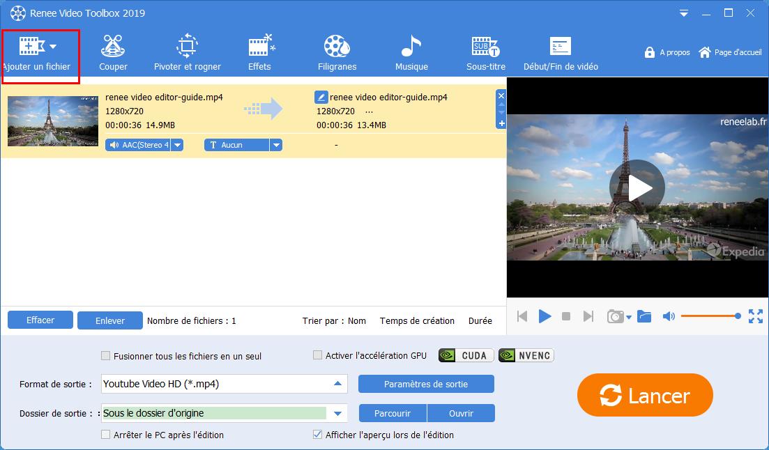 Ajouter le fichier vidéo cible