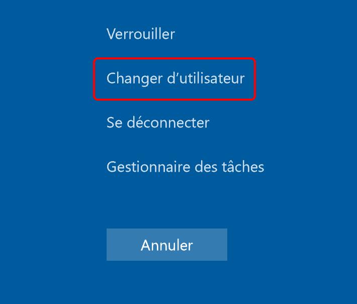 changer d'utilisateur de Windows