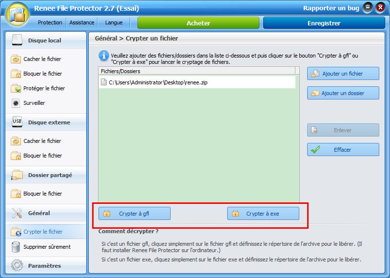 crypter le fichier à GFL ou EXE